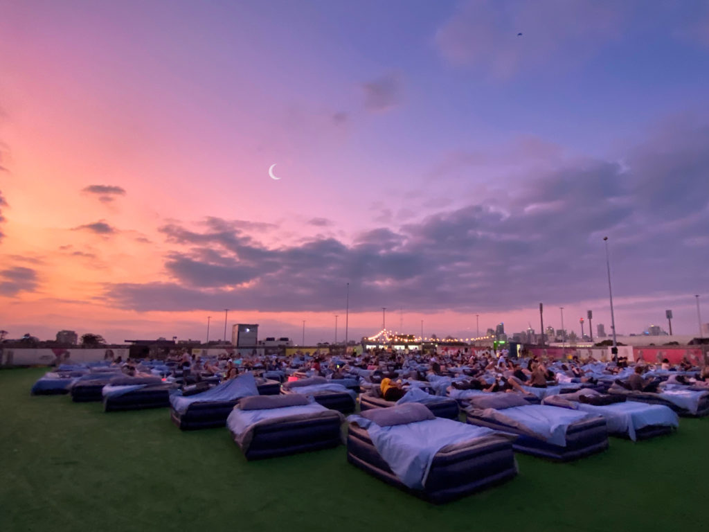Sunset on Brisbane's Outdoor Bed Cinema